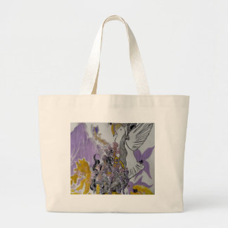 Bird Snakes and Woman Design Large Tote Bag