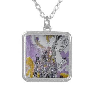 Bird Snakes and Woman Design Silver Plated Necklace