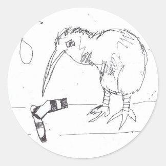 bird sock classic round sticker