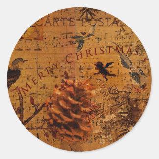 Bird Song Christmas Round Sticker