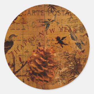 Bird Song New Year Round Sticker