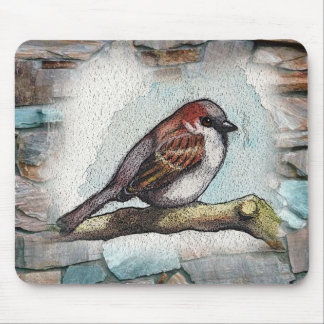 Bird, Sparrow: Watercolor Painting, Art Mouse Pad
