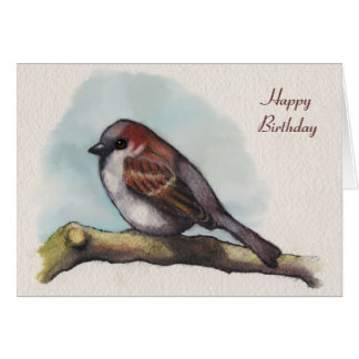 Bird, Sparrow: Watercolor Painting, Birthday Card