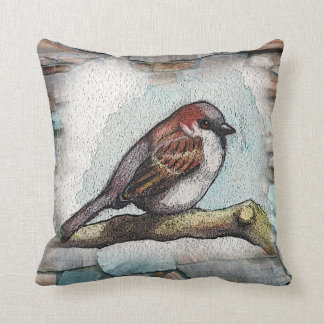 Bird, Sparrow: Watercolor Painting: Rocks, Stones Throw Pillow