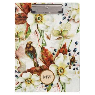 Bird spring blossom country garden clipboard