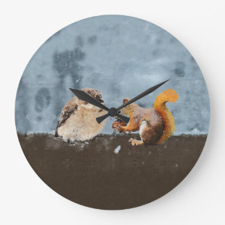 Bird & Squirrel Large Clock