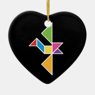 bird tangram flying bird flying ceramic heart ornament