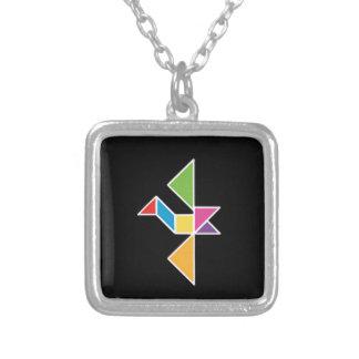bird tangram flying bird flying silver plated necklace