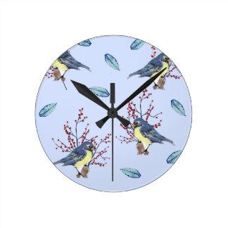 Bird Time Round Clock