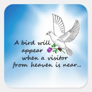Bird, Visitor from Heaven Square Sticker