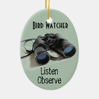 Bird Watcher Ceramic Oval Ornament