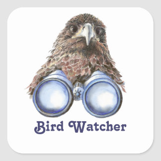 Bird Watcher Watching You Animal Humor watercolor Square Sticker