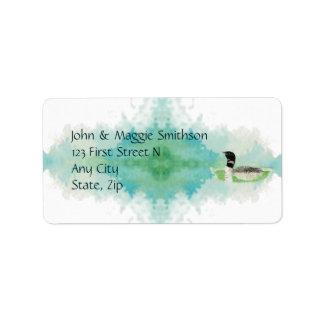Bird Wildlife Painting Watercolor Loon Address Label