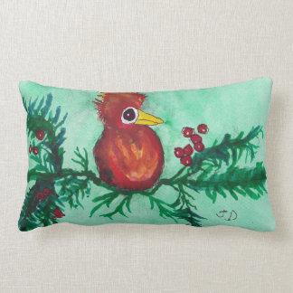 Bird with Berries Lumbar Pillow