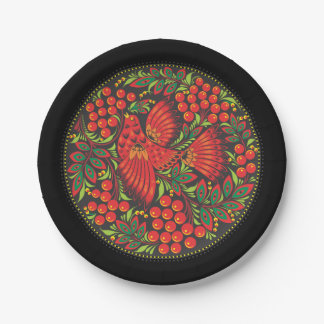 Bird with Berries - Russian Folk Art - Paper Plate