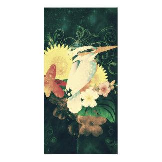 Bird with flowers customized photo card