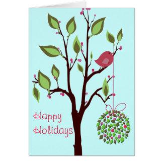 Bird with Mistletoe greeting cards