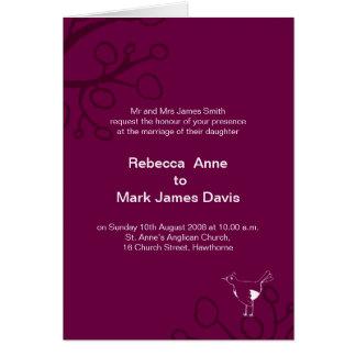 Bird with twig Wedding Invitation Purple
