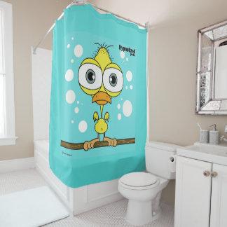 Bird (Yellow, Light Blue Bg) Shower Curtain
