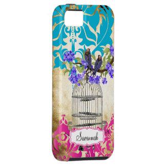 Birdcage Bird Pink Aqua Damask iPhone 5 Case