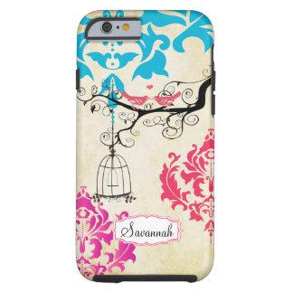 Birdcage Bird Pink Coral Aqua Damask iPhone Case