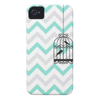 Birdcage Chevron ZigZag Vintage Aqua Blackberry Case-Mate iPhone 4 Cases
