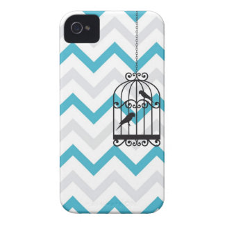 Birdcage Chevron ZigZag Vintage Blue iPhone 4 iPhone 4 Cover