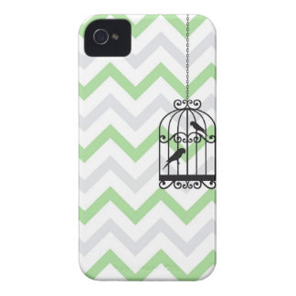 Birdcage Chevron ZigZag Vintage Green Blackberry iPhone 4 Covers