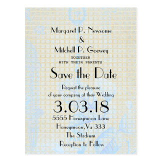 Birdcage-Gold-Blue-Parisian-Wedding-Template Postcard