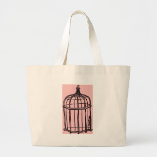 Birdcage in Pink Large Tote Bag