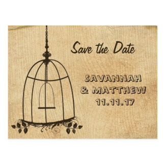Birdcage Save the Date on Wood Grain Postcard