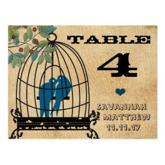 Birdcage Table Number on Wood Grain Postcard