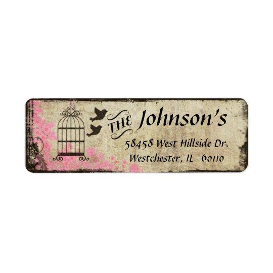Birdcage Vintage Return Address Label Pink
