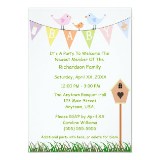 Birdhouse And Birds On A Baby Banner Baby Shower Card