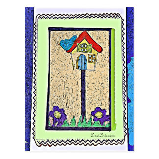 Birdhouse, Bird and Flower cartoon postcard