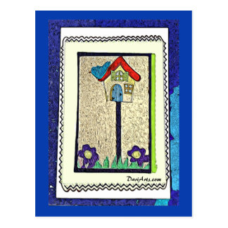 Birdhouse, Blue Bird and Purple Flowers postcard
