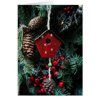 Birdhouse Christmas tree greeting card