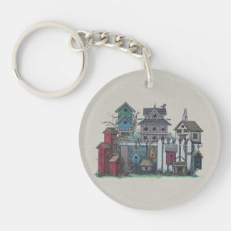 Birdhouse Collection Double-Sided Round Acrylic Keychain