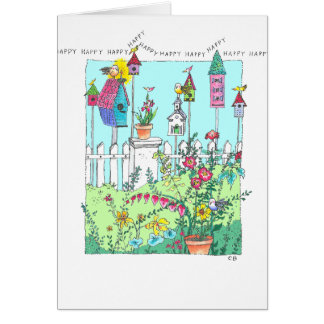"""Birdhouse Garden"" Birthday Card"
