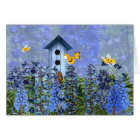 Birdhouse in a Larkspur Flower Garden Blank Card