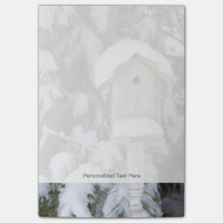 Birdhouse near pine tree in winter post-it notes