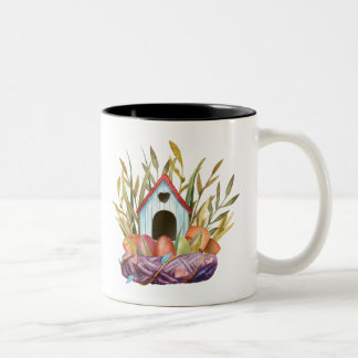 birdhouse on nest Two-Tone coffee mug