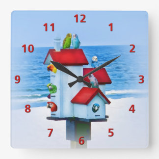 Birdhouse with Parrots and Parakeets Square Wall Clock