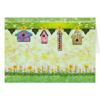 Birdhouses in Spring Card