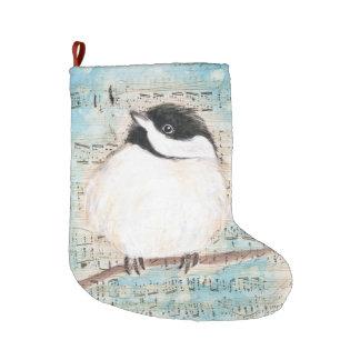 Birdie Chickadee Music Large Christmas Stocking