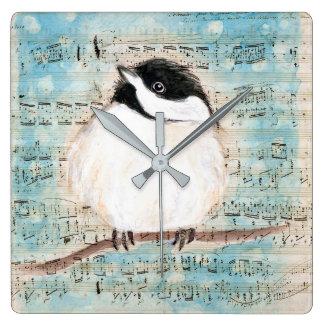 Birdie Chickadee Music Square Wall Clock