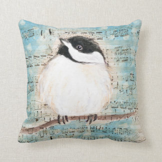 Birdie Chickadee Music Throw Pillow