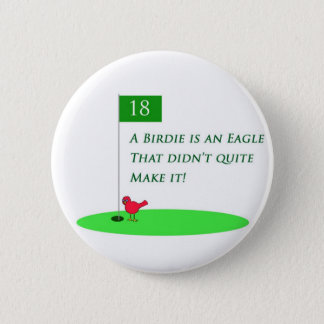 Birdie Eagle Golf Cartoon Button
