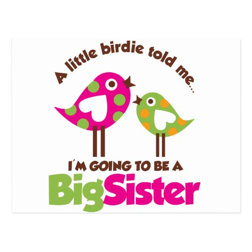 Birdie Going To Be A Big Sister Postcard
