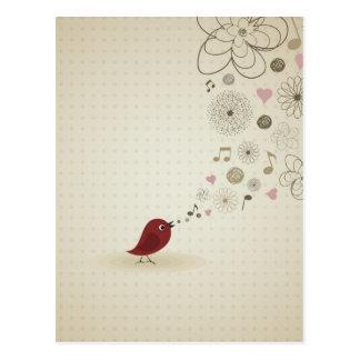 Birdie sings postcard